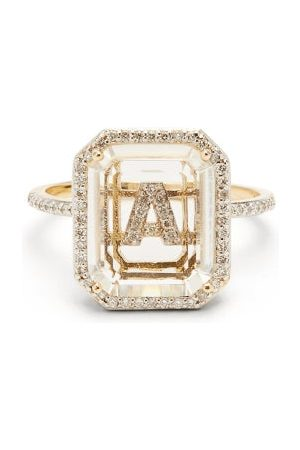 Mateo Initials Diamond, Quartz & 14kt Ring A-i