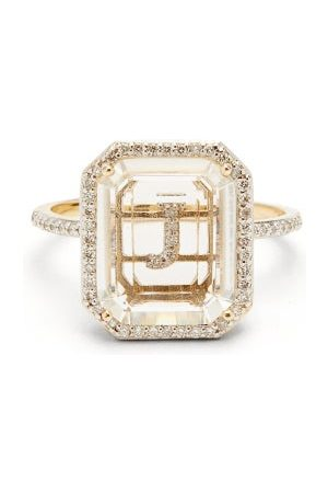 Mateo Initials Diamond, Quartz & 14kt Ring J-q