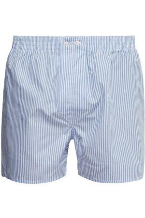 DEREK ROSE Candy-striped Cotton-poplin Boxer Shorts
