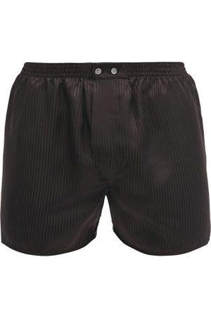 DEREK ROSE Woburn Satin-striped Silk Boxer Shorts