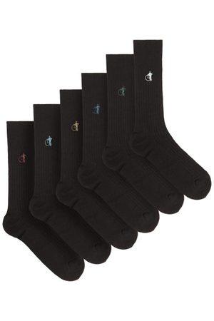 London Sock Company Simply Black Pack Of Six Ribbed Cotton-blend Socks
