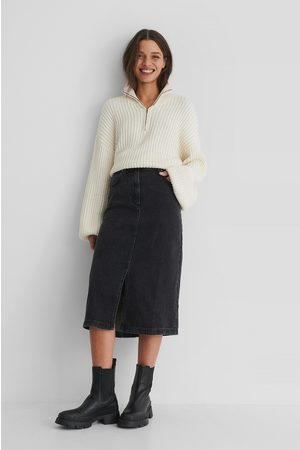 MANGO Bay Denim Skirt - Black