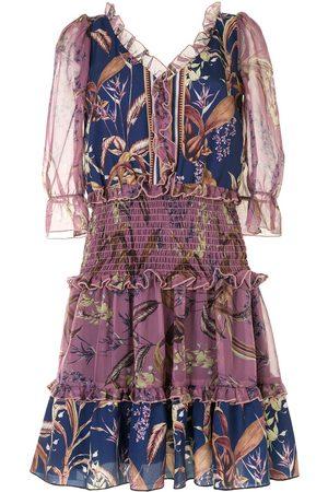 Marchesa Notte Gesmoktes Kleid mit Blumen-Print