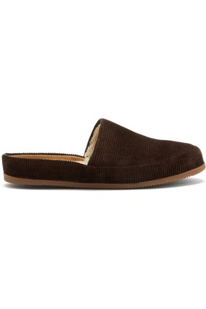 Mulo Shearling-lined Cotton-corduroy Slippers
