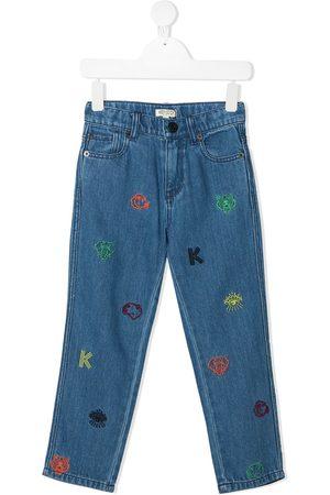 Kenzo Jungen Cropped - Bestickte Jeans