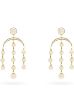 Mateo Crescent Moon Diamond, Pearl & 14kt Earrings