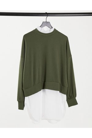 Noisy May – Sweatshirt mit Hemddetails in Khaki