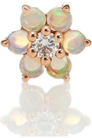 Maria Tash Einzelner Ohrring Flower aus 14kt Rosé mit Diamant und Opalen