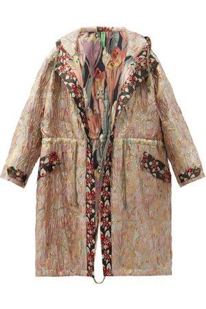 Rianna + Nina Vintage Hooded Drawstring Floral-brocade Parka
