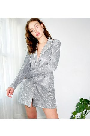 4th & Reckless 4th + Reckless – Tall – Glitzerndes Blazer-Kleid mit Gürtel in