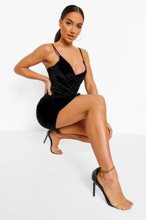 Boohoo Damen Freizeitkleider - Womens Bodycon-Wickelkleid Aus Samt - - 36