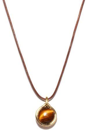 Fernando Jorge Tiger Eye, 18kt And Leather Pendant Necklace