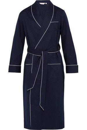 DEREK ROSE Polka-dot Jacquard-stripe Cotton Robe
