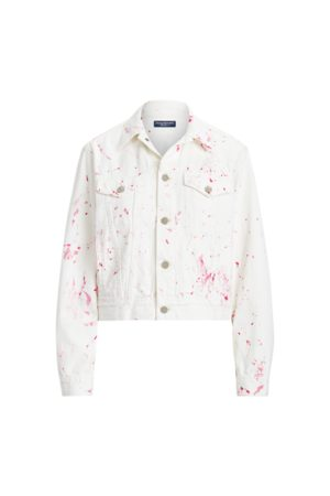 Ralph Lauren Trucker-Jeansjacke mit Pink Pony