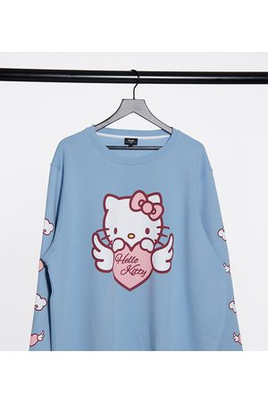 New Girl Order Curve X Hello Kitty – Oversize-Sweatshirt in Babyblau mit Hello Kitty-Grafikprint