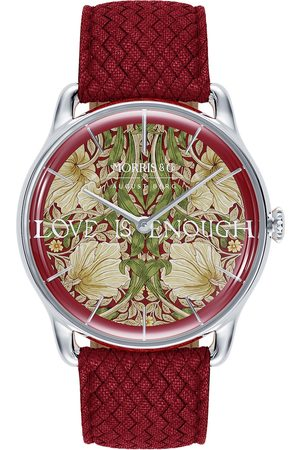August Berg Uhr 'MORRIS & CO Silver Red Perlon 38mm