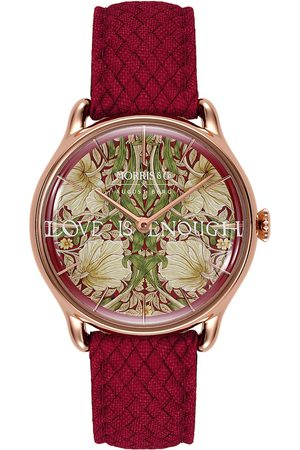 August Berg Uhr 'MORRIS & CO Rose Gold Red Perlon 30mm