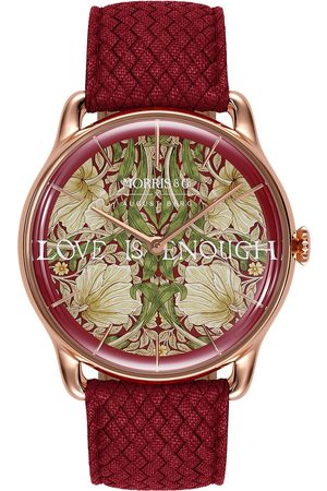August Berg Uhr 'MORRIS & CO Rose Gold Red Perlon 38mm