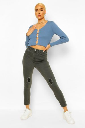 Boohoo Womens High-Waisted Skinny Jeans In Destroyed-Optik - - 32
