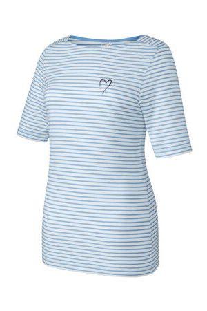 """JOY SPORTSWEAR T-Shirt """"LIA"""", Streifenmuster, Herzaufdruck, für Damen, hellblau/weiß, 40"""