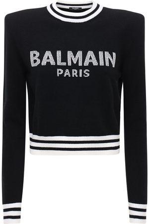 Balmain Bauchfreier Pullover Aus Wollmischstrick