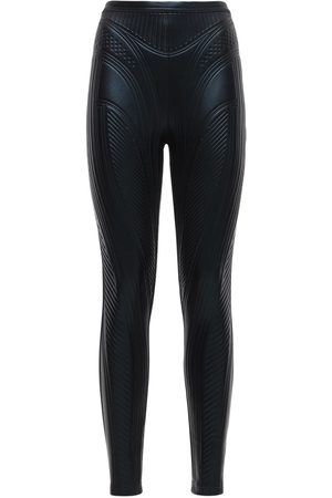 MUGLER Geprägte Leggings Aus Glänzendem Stretch-jersey