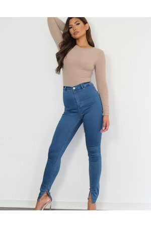 Missguided – Vice – Enge Jeans mit Schlitz am Saum in