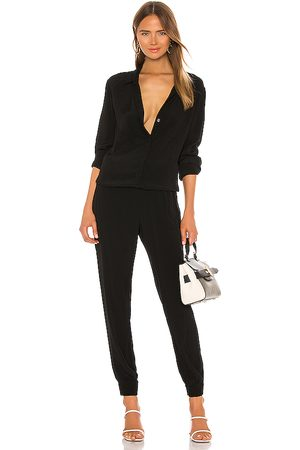 MONROW Crepe Long Sleeve Jumpsuit in . Size S, XS.
