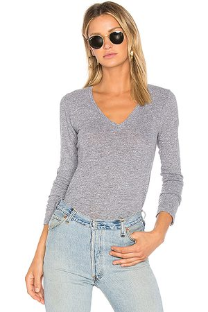MONROW Jersey Long Sleeve V Neck Tee in . Size M, S, XS.