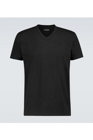 Tom Ford Meliertes T-Shirt mit V-Ausschnitt
