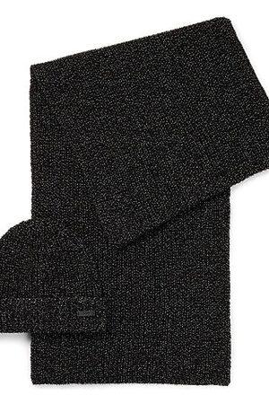 HUGO BOSS Set aus Mütze und Schal aus Metallic-Gewebe