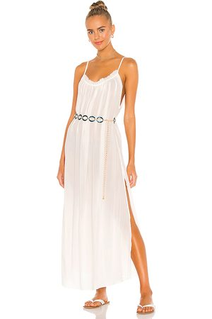 Indah Yasmine Solid Gathered Neckline Sundress Maxi in . Size S, XS, M.