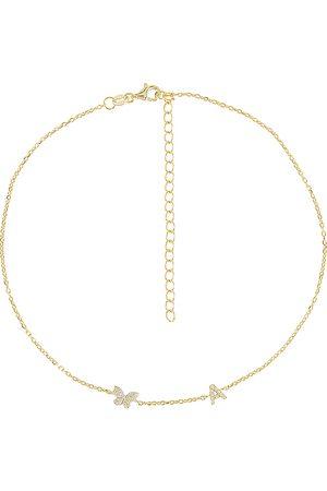 Adina's Jewels Damen Halsketten - Pave Butterfly Initial Choker in . Size F, H, I, P.