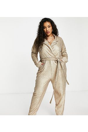 ASOS ASOS DESIGN Curve – Pailletten-Jumpsuit im Smokingstil in