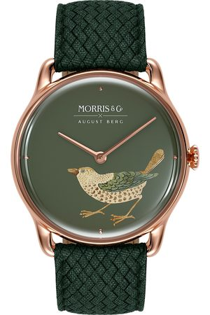 August Berg Uhr MORRIS & CO Rose Gold Bird Green Perlon 38mm