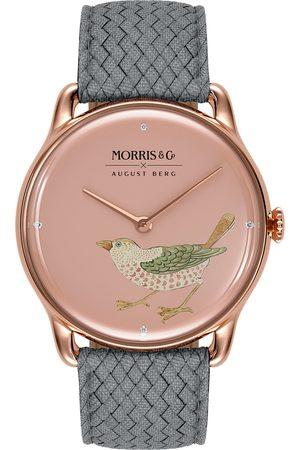 August Berg Uhr 'MORRIS & CO Rose Gold Bird Grey Perlon 38mm