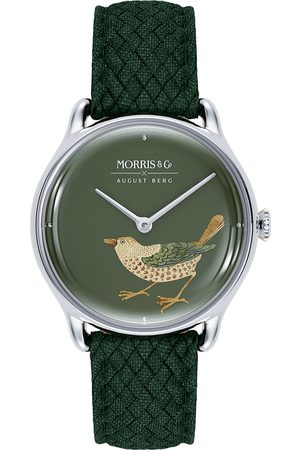 August Berg Uhr MORRIS & CO Silver Bird Green Perlon 30mm