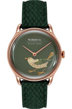 August Berg Uhr 'MORRIS & CO Rose Gold Bird Green Perlon 30mm