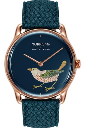 August Berg Uhr MORRIS & CO Rose Gold Bird Indigo Perlon 38mm