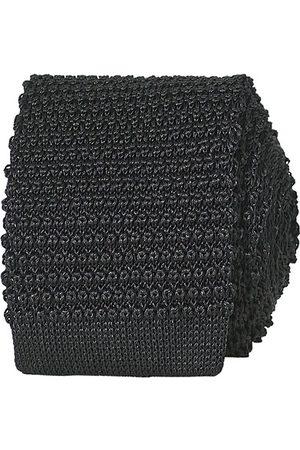 Amanda Christensen Knitted Silk Tie 6 cm Black