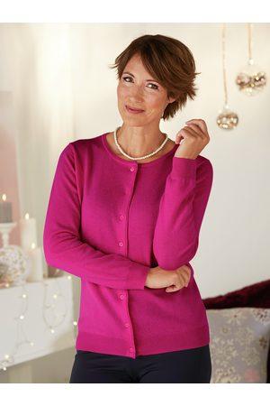 Avena Damen Strickpullover - Woolovers Damen Kaschmir-Seide Premium Strickjacke Rosé