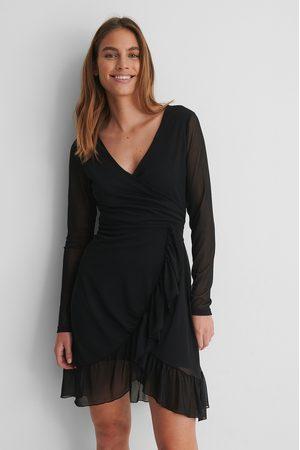 NA-KD Damen Freizeitkleider - Mesh-Wickelkleid Mit Schnürung - Black