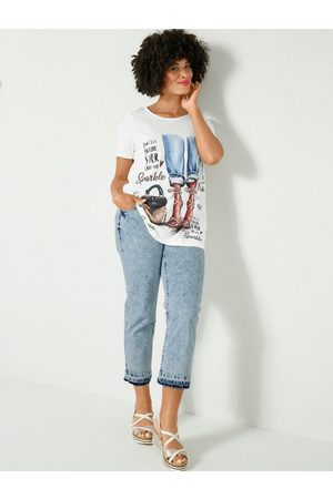 Angel of Style Damen Cropped - 5-Pocket-Jeans in modischer Waschung