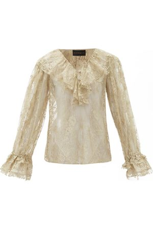 Dundas Ruffled Cotton-blend Chantilly-lace Blouse