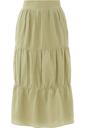 Adriana Degreas High-rise Tiered Voile Midi Skirt