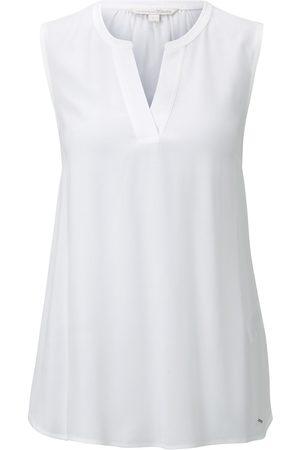 TOM TAILOR Damen Ärmellose Bluse mit Henley-Ausschnitt, , Gr.XL