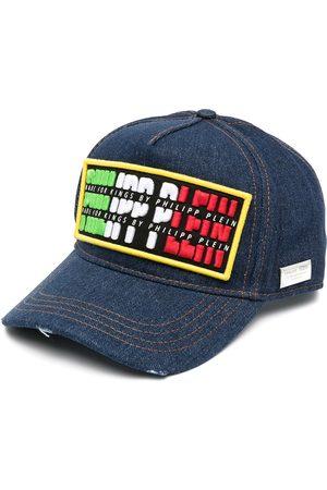 Philipp Plein Caps - Jeans-Baseballkappe mit Logo-Patch