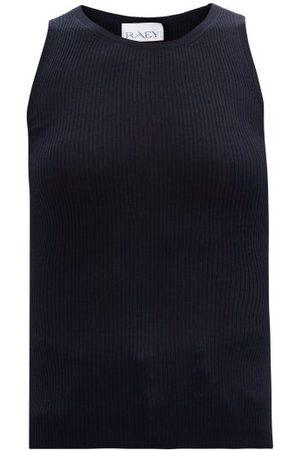 Raey V-neck Silk And Cashmere-blend Ribbed-knit Vest