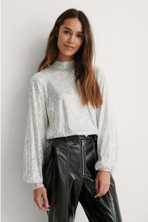 Lizzy x NA-KD Damen Blusen - Bluse - Silver