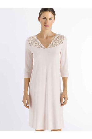 Hanro Damen Nachthemden - Moments 3/4-Arm-Nachtkleid mit Spitze, Länge 100cm